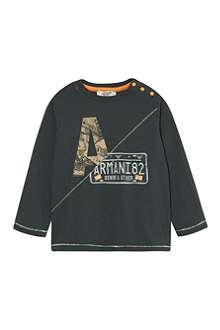 ARMANI JUNIOR Armani logo license long-sleeved top 3-24 months