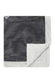 ARMANI JUNIOR Striped logo trim blanket