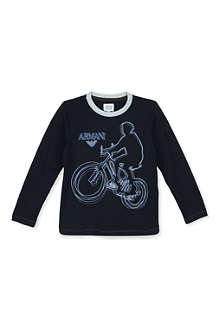 ARMANI JUNIOR Bicycle print cotton t-shirt 4-8 years