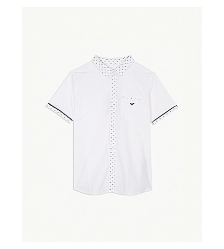 ARMANI JUNIOR 标志棉衬衫4-16 年 (白色