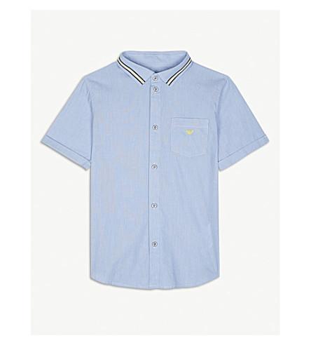ARMANI JUNIOR Stripe collar cotton shirt 4-16 years (Blue