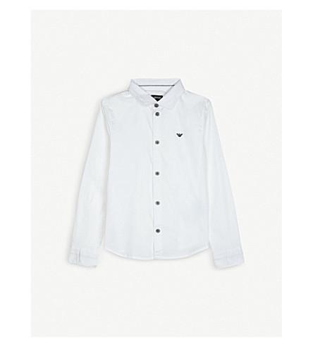ARMANI JUNIOR 标志棉混纺衬衫4-16 年 (白色