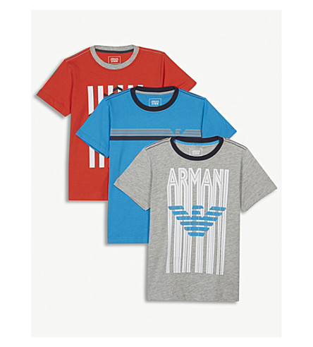 ARMANI JUNIOR Pack of three cotton logo T-shirts (Multi