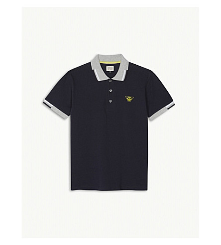 ARMANI JUNIOR Stripe-trim cotton polo shirt 4-16 years (Navy