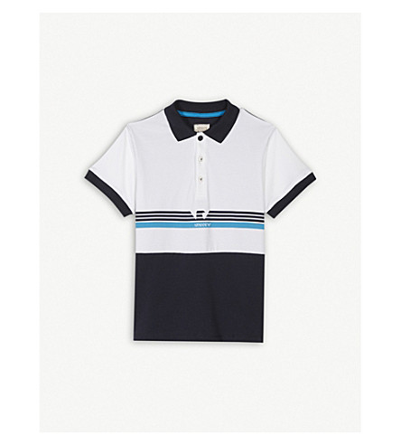 ARMANI JUNIOR Striped stretch-cotton polo shirt 4-16 years (Navy
