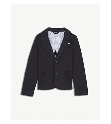 ARMANI JUNIOR Pique cotton-blend blazer 4-16 years (Navy