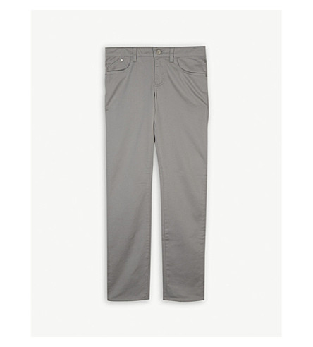 ARMANI JUNIOR Cotton-blend chino trousers 4-16 years (Grey