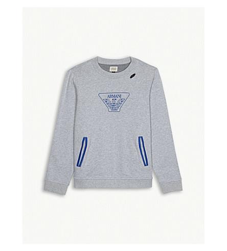 ARMANI JUNIOR Logo cotton sweatshirt 4-16 years (Grey