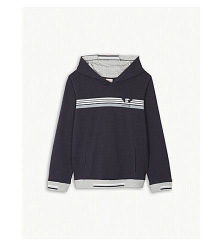 ARMANI JUNIOR Logo cotton-blend hoody 4-16 years (Navy