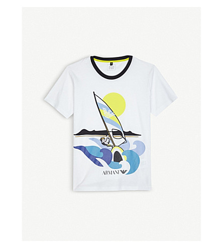 ARMANI JUNIOR Windsurf print cotton T-shirt 4-16 years (White