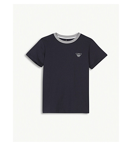 ARMANI JUNIOR Small eagle logo cotton T-shirt 4-16 years (Navy