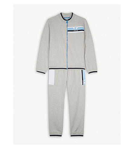 ARMANI JUNIOR Eagle-striped cotton-blend tracksuit 4-16 years (Grey