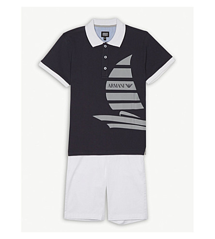 ARMANI JUNIOR Branded cotton polo shirt and shorts set 4-16 years (Navy