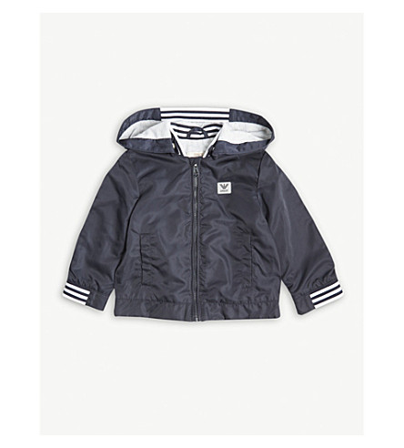 ARMANI JUNIOR Windbreaker hood jacket 6-36 months (Navy