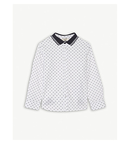 ARMANI JUNIOR Logo print cotton-blend shirt 6-36 months (White