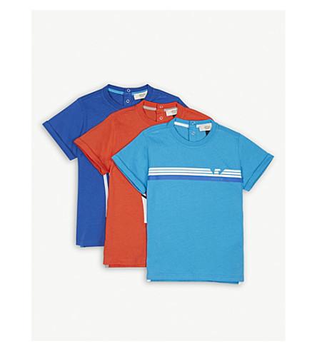 ARMANI JUNIOR Pack of three cotton logo T-shirts (Multi