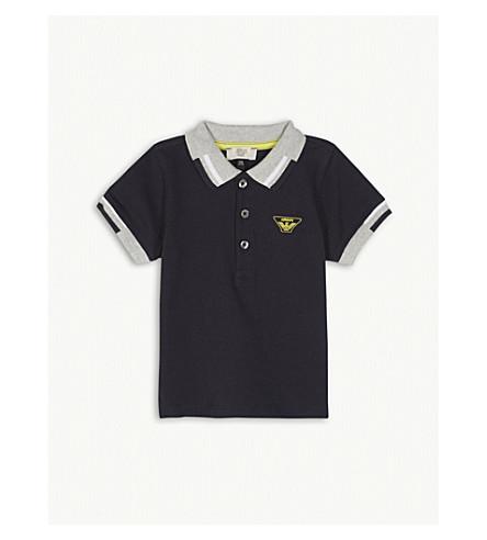 ARMANI JUNIOR Logo cotton polo shirt 6-36 months (Navy