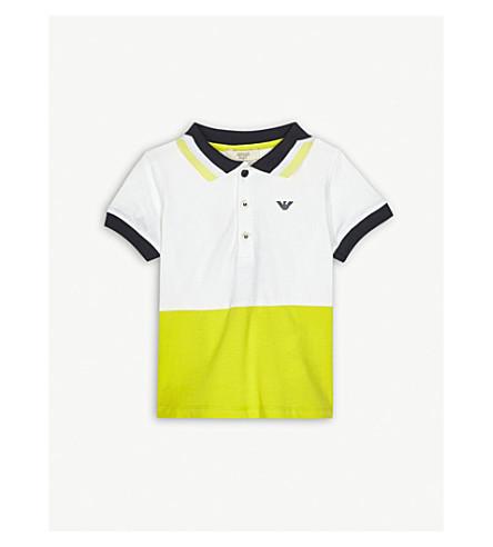 ARMANI JUNIOR Block panel cotton polo shirt 6-36 months (Yellow