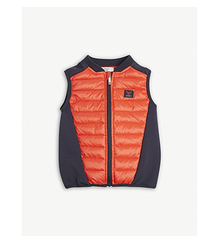 ARMANI JUNIOR Logo quilted gilet 6-36 months (Red