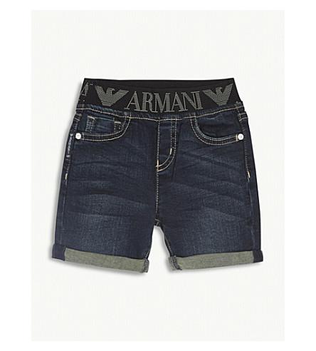 ARMANI JUNIOR Logo band denim cotton shorts 6-36 months (Denim