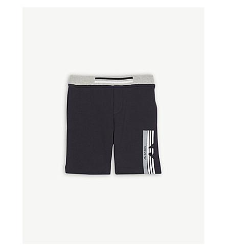 ARMANI JUNIOR Striped eagle cotton jersey shorts 6-36 months (Navy