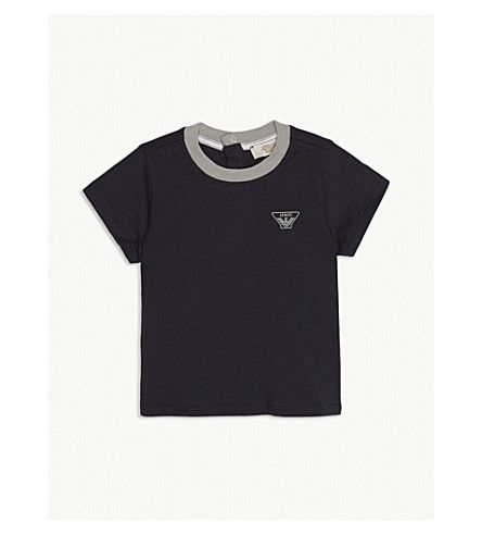 ARMANI JUNIOR Cotton logo T-shirt 6-36 months (Navy