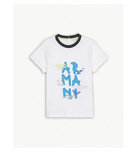 ARMANI JUNIOR Fish logo print cotton T-shirt 6-36 months (White