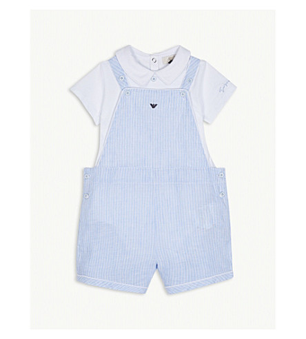 ARMANI JUNIOR Two-piece cotton and linen bodysuit & dunagrees set (Blue