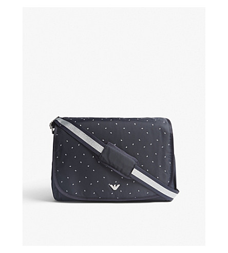 ARMANI JUNIOR Eagle-print nylon changing bag (Navy