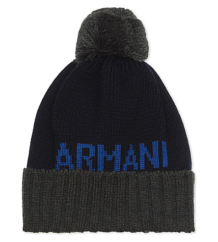 ARMANI JUNIOR Logo bobble wool-blend beanie (Navy