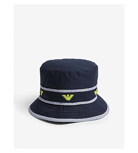 ARMANI JUNIOR Logo cotton bucket hat (Navy
