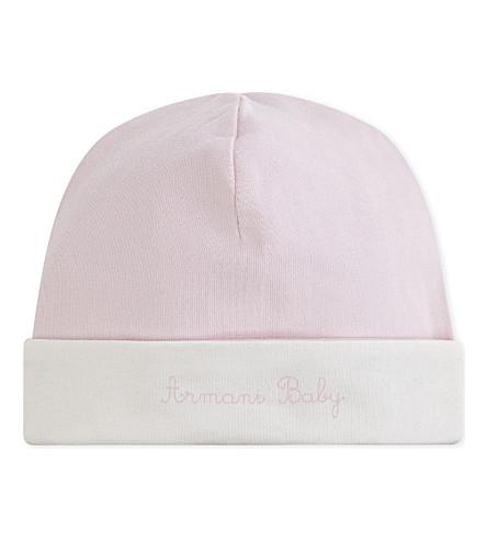 ARMANI JUNIOR Cotton jersey cap (Pale+pink