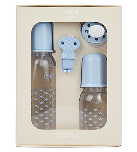 ARMANI JUNIOR Bottles and dummy set (Azzurro