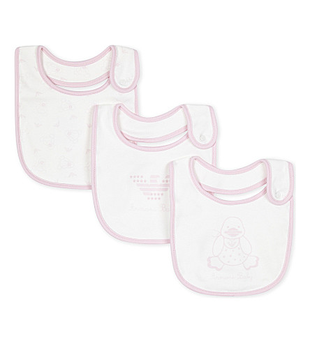 ARMANI JUNIOR Printed cotton bibs set of three (White/pink