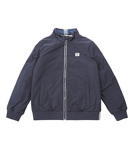 ARMANI JUNIOR Zipped bomber jacket 4-16 years (Navy