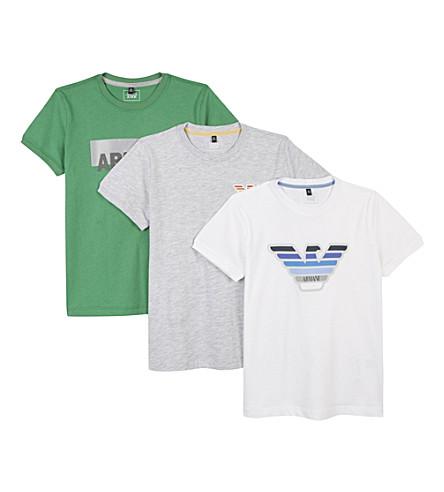 ARMANI JUNIOR Logo cotton T-shirts pack of three 4-16 years (Multi