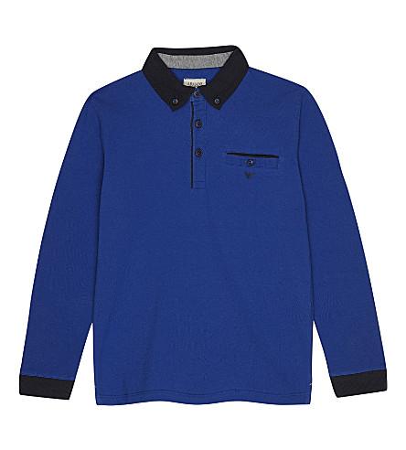 ARMANI JUNIOR Button collar cotton polo shirt 4-16 years (Bluette
