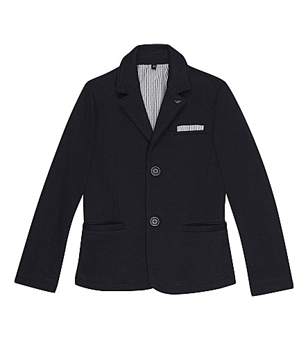 ARMANI JUNIOR Piqué cotton blazer 4-16 years (Navy