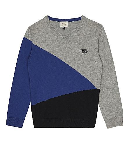 ARMANI JUNIOR Geometric knitted cotton sweater 4-16 years (Grey