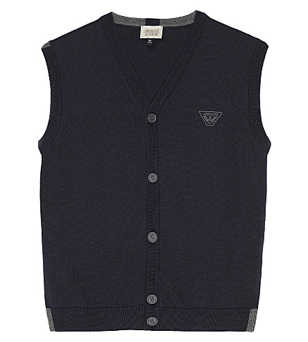 ARMANI JUNIOR Knitted cotton gilet 4-16 years (Navy
