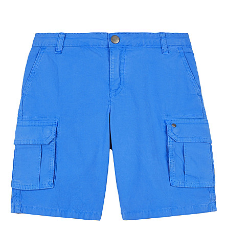 ARMANI JUNIOR Stretch-cotton cargo shorts 4-16 years (Blue