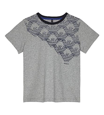 ARMANI JUNIOR Shoulder logo cotton t-shirt 4-16 years (Grey