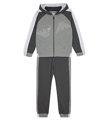 ARMANI JUNIOR Logo cotton tracksuit 4-16 years (Grey
