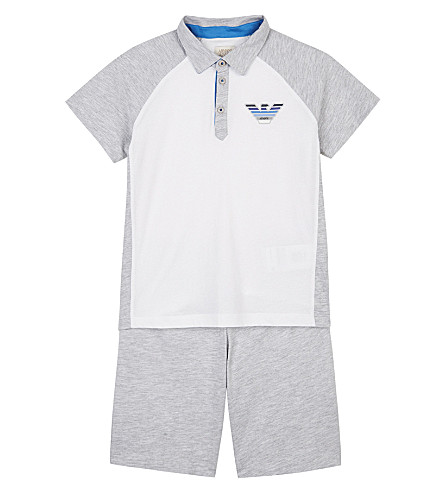 ARMANI JUNIOR Logo cotton polo shirt & shorts 4-16 years (Grey/white