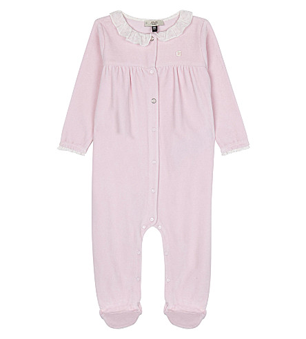 ARMANI JUNIOR Ruffled collar velour babygrow 1-12 months (Pale+pink