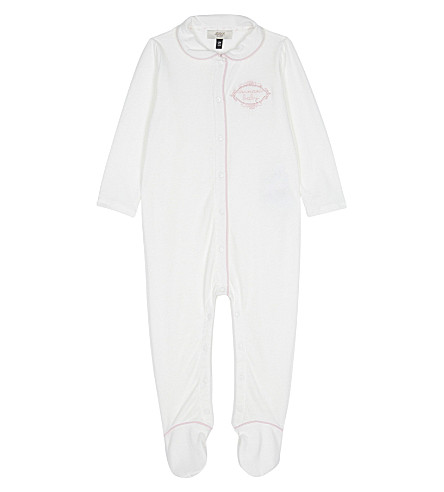 ARMANI JUNIOR Embroidered logo cotton baby-grow (White