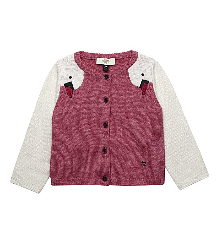 ARMANI JUNIOR Knitted swan sleeve cardigan (Pink