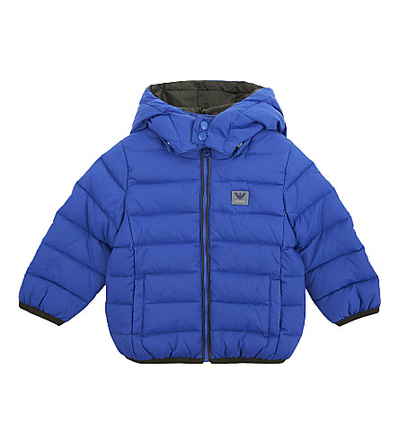 ARMANI JUNIOR Hooded down-filled nylon puffer jacket 6-36 months (Bluette