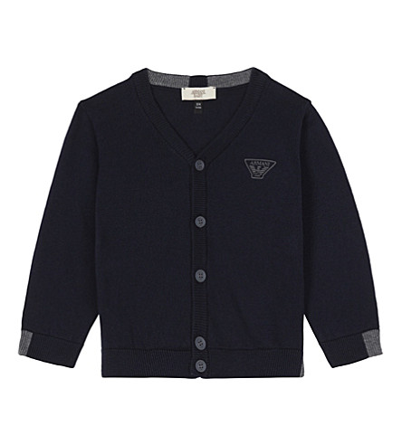 ARMANI JUNIOR Eagle cotton cardigan 6-36 months (Navy