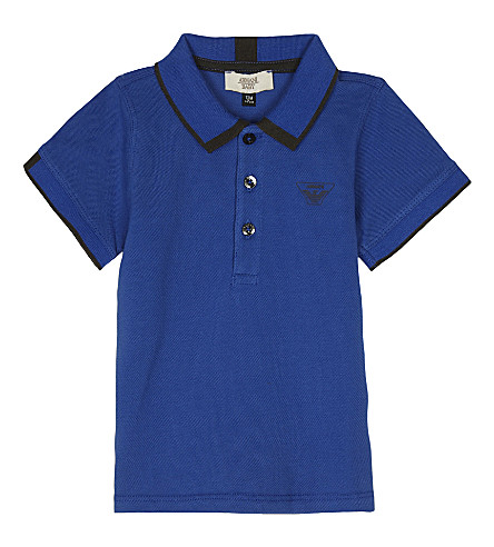 ARMANI JUNIOR Short-sleeved cotton polo shirt 6-36 months (Bluette
